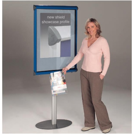 Freestanding Shield Showcase 1 metre high stand - letterboard